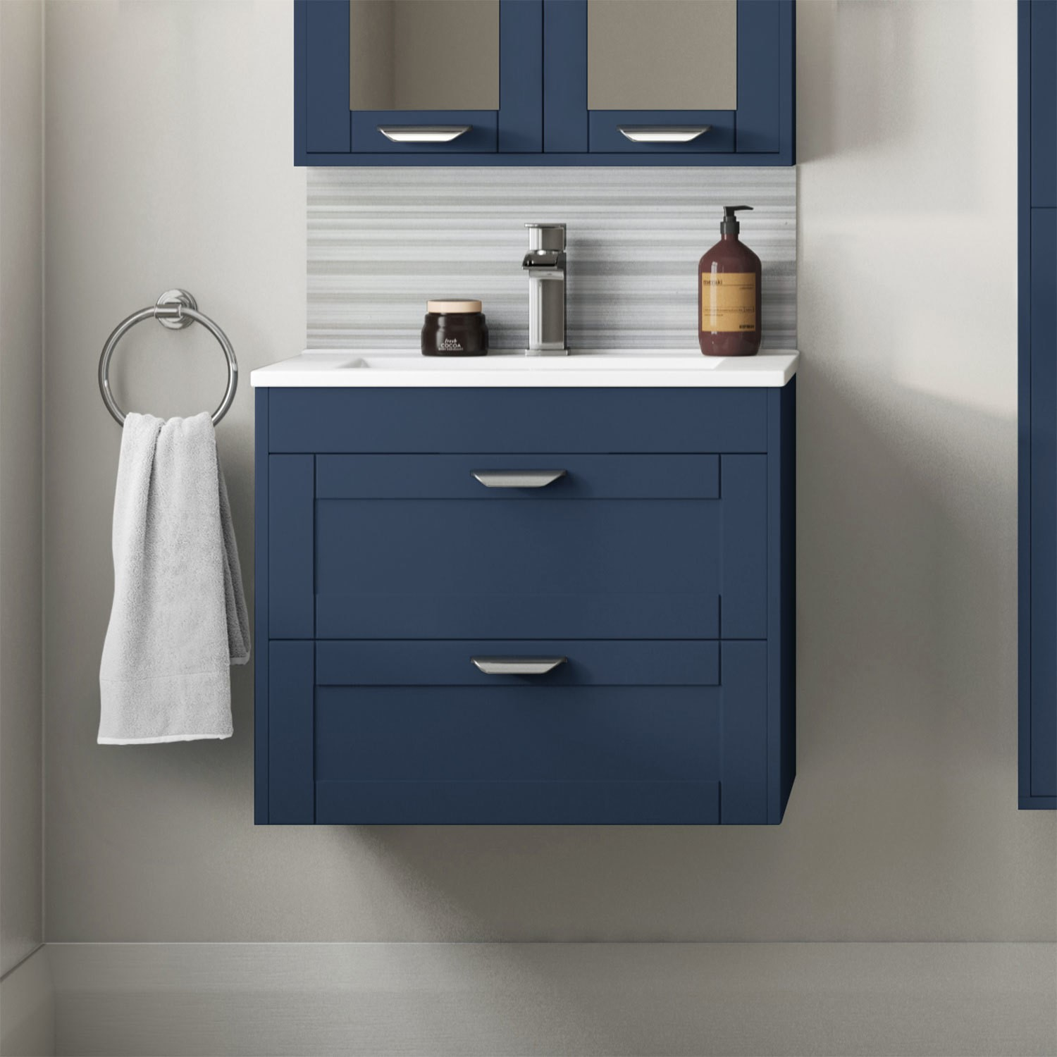 600mm Wall Hung 2 Drawer Vanity Unit With Basin Indigo Blue Nottingham Furniture123