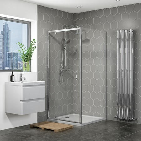 Vega 800 x 800mm Pivot Shower Enclosure with Silhouette Tray