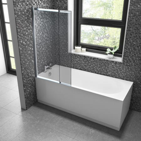 Alton Single Ended Straight Bath with Juno Shower Bath Screen - 1700 x 700