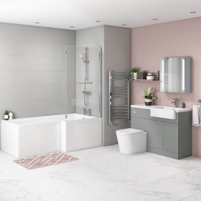 Bali Matt Grey Toilet and Basin Vanity Combination Unit and Right Hand L Shape Bath Suite