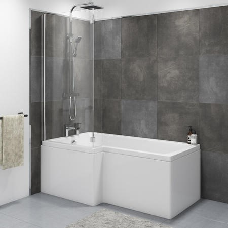 Lomax Left Hand L Shape Bath with Front Panel and Screen - 1700 x 850mm