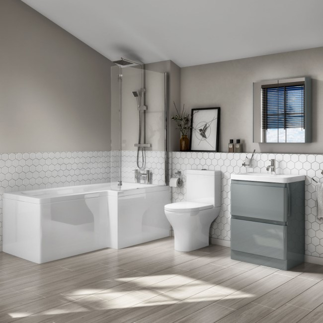 Right Hand L-Shaped Bath Portland Close Coupled & 600mm Floorstanding Medium Grey Gloss Vanity Unit