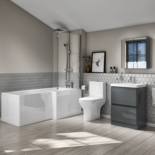 Right Hand L-Shaped Bath with Close Coupled 600mm Floorstanding Dark Grey Vanity Unit - Portland