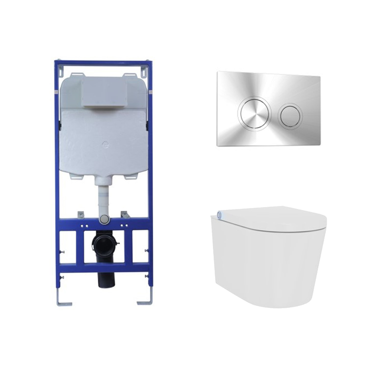 Bath & WC Wall Hung Smart Bidet Toilet Combo with Cistern & Wall Hung Frame - Built in Dryer & Spray - Purificare