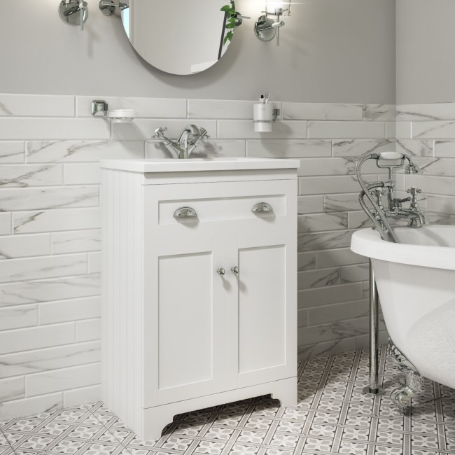 600mm Vanity Unit with Basin - 2 Door - Matt White - Baxenden