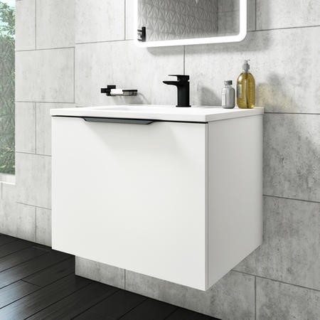 600mm White Wall Hung Vanity Unit with Basin - Sion