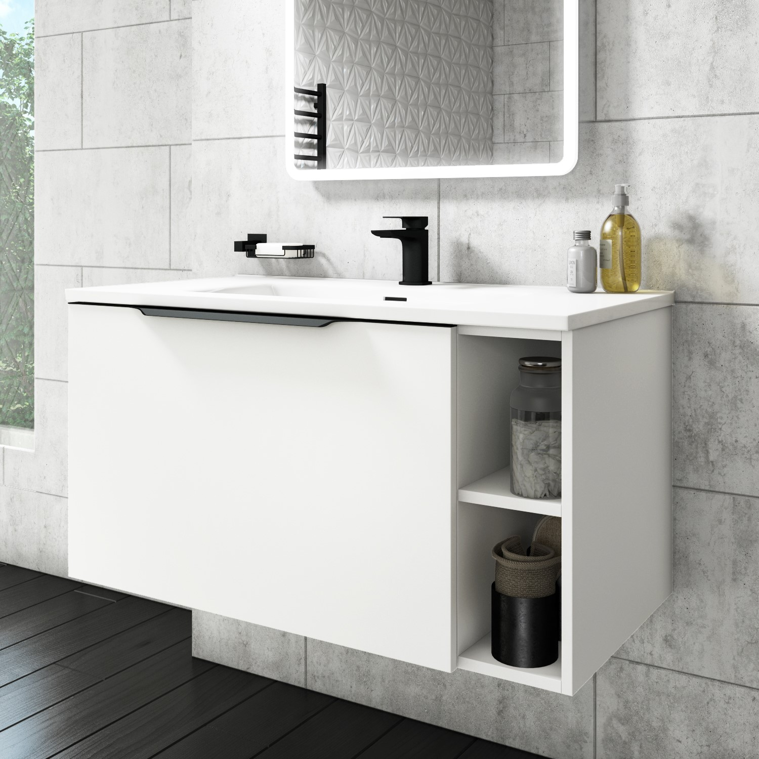 900mm Wall Hung Vanity Unit With Basin Matt White With Black Handles Sion Furniture123