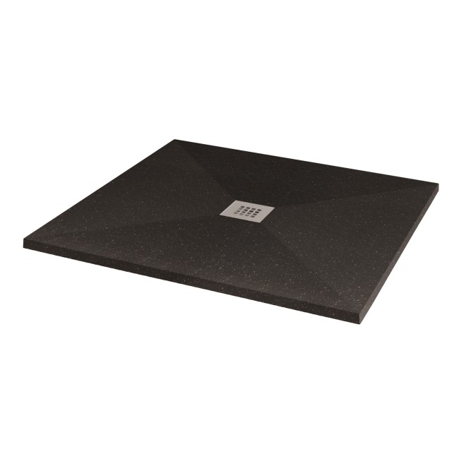 Silhouette Black Sparkle 900 x 900 Square Ultra Low Profile Tray with waste