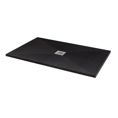 Silhouette Black Sparkle 1200 x 800 Rectangular Ultra Low Profile Tray with waste