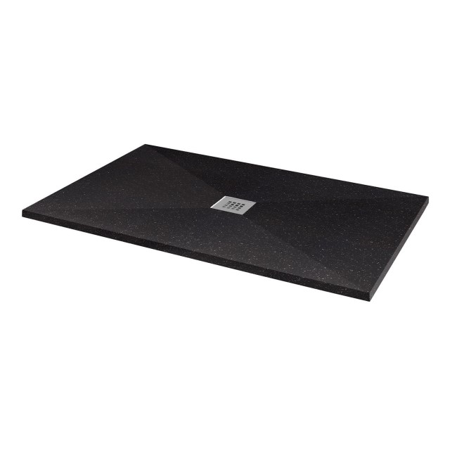 Silhouette Black Sparkle 1400 x 900 Rectangular Ultra Low Profile Tray with waste