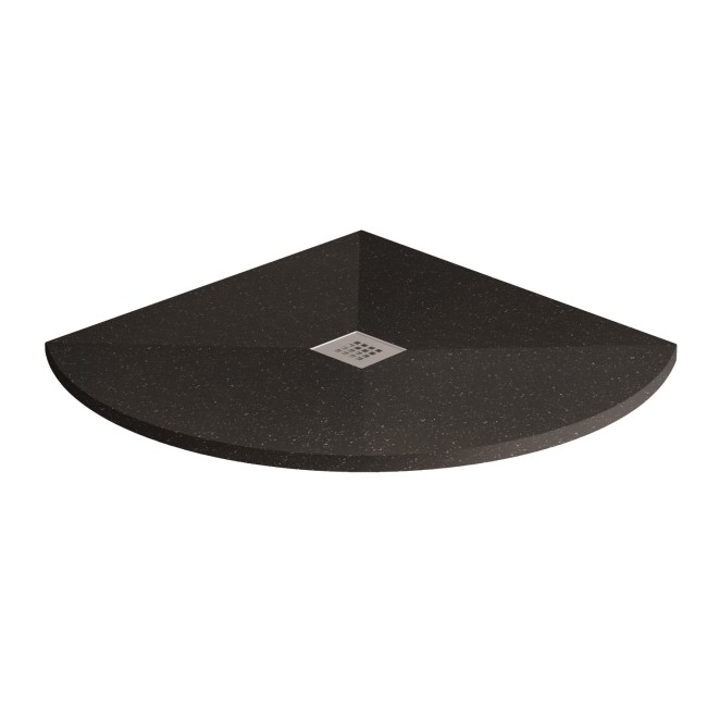 Silhouette Black Sparkle 800 x 800 Quadrant Ultra Low Profile Tray with waste
