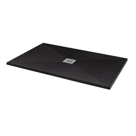 Silhouette Black Sparkle 1600 x 900 Rectangular Ultra Low Profile Tray with waste
