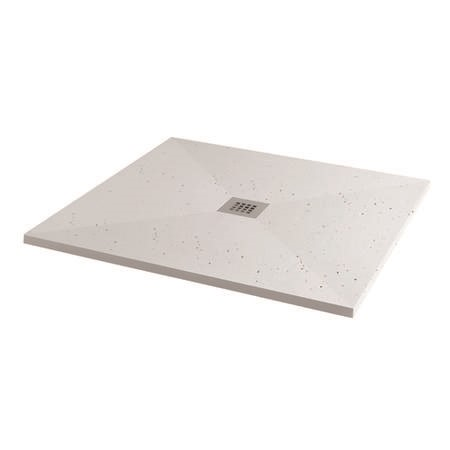 Silhouette White Sparkle 800 x 800 Square Ultra Low Profile Tray with waste
