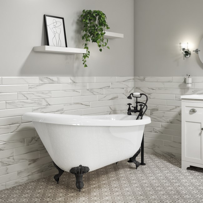 Park Royal Freestanding Single Ended Roll Top Bath White with Black Feet - 1555 x 725mm