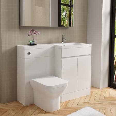 White Right Hand Combination Unit with Back to Wall Toilet - Florence