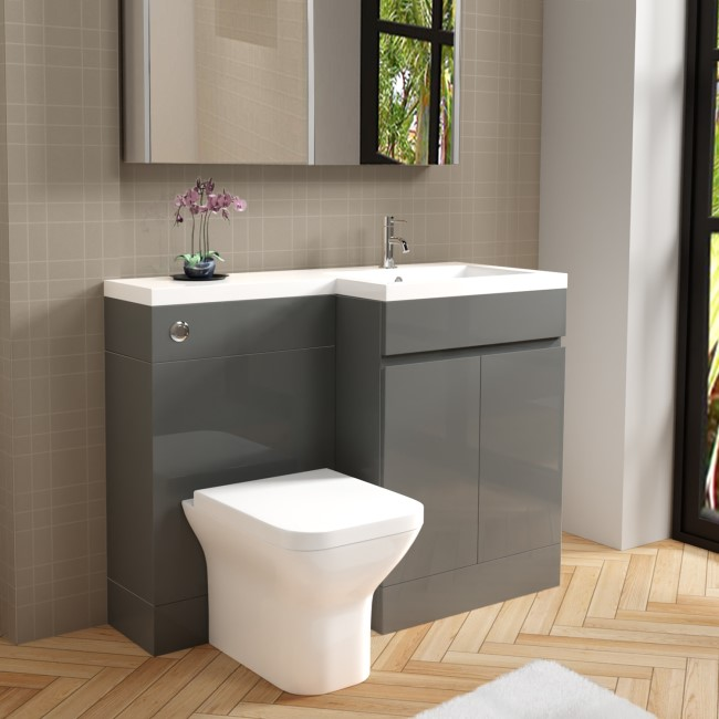 Grey Vanity Unit with Back to Wall Toilet Unit Right Hand - Florence