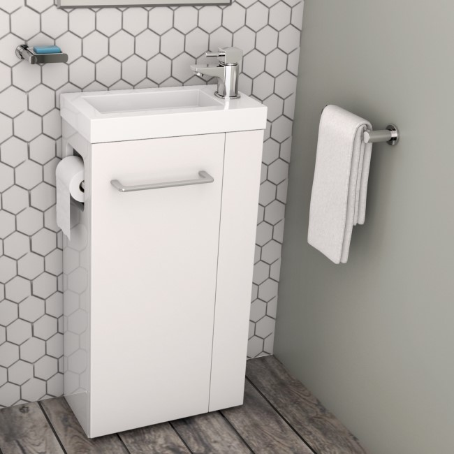433mm Floor Standing Vanity Unit with Basin & Toilet Roll Holder - Virgo