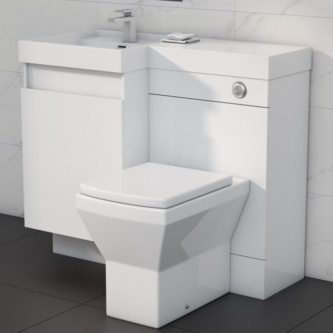 900mm Toilet and Basin Combination Unit - 2 Drawers - White -  Left Hand - Agora