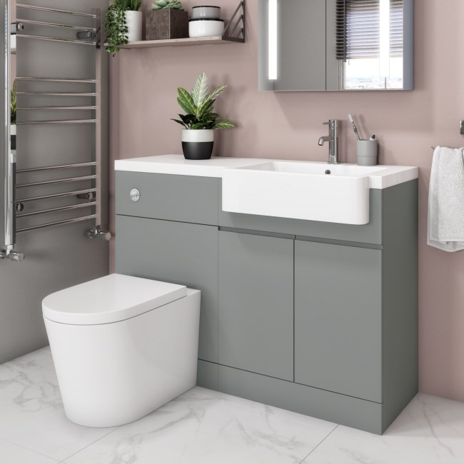 Bali Matt Grey Toilet and Basin Vanity Combination Unit 1100mm Right Hand
