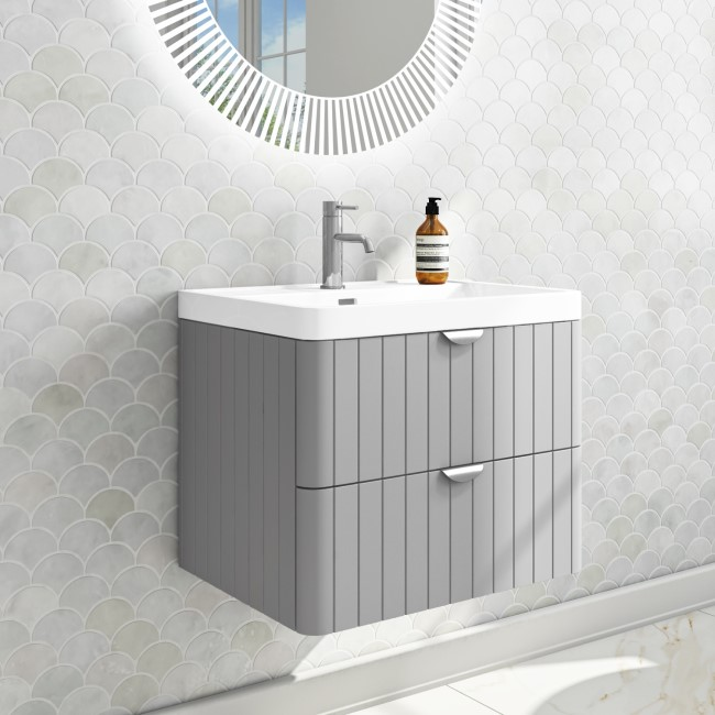 Empire 600mm Wall Hung Vanity Unit - Matt Grey with Chrome Handles