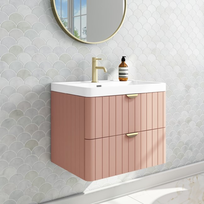 Empire 600mm Wall Hung Vanity Unit - Matt Nude with Brass Handles