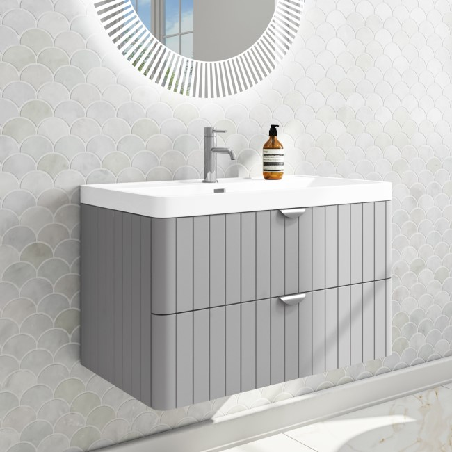 Empire 800mm Wall Hung Vanity Unit - Matt Grey with Chrome Handles