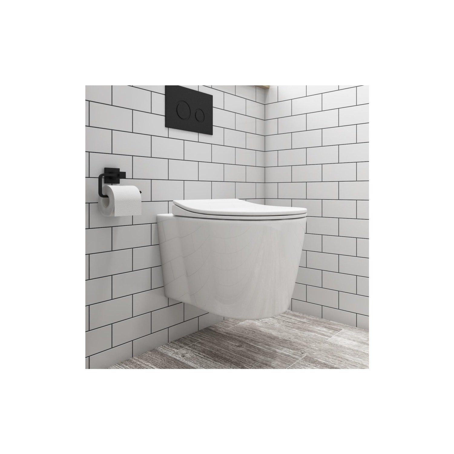 Bath & WC Wall Hung Toilet and Soft Close Seatwith Matt Black Flush Plate 1160mm Frame and Cistern - Alcor