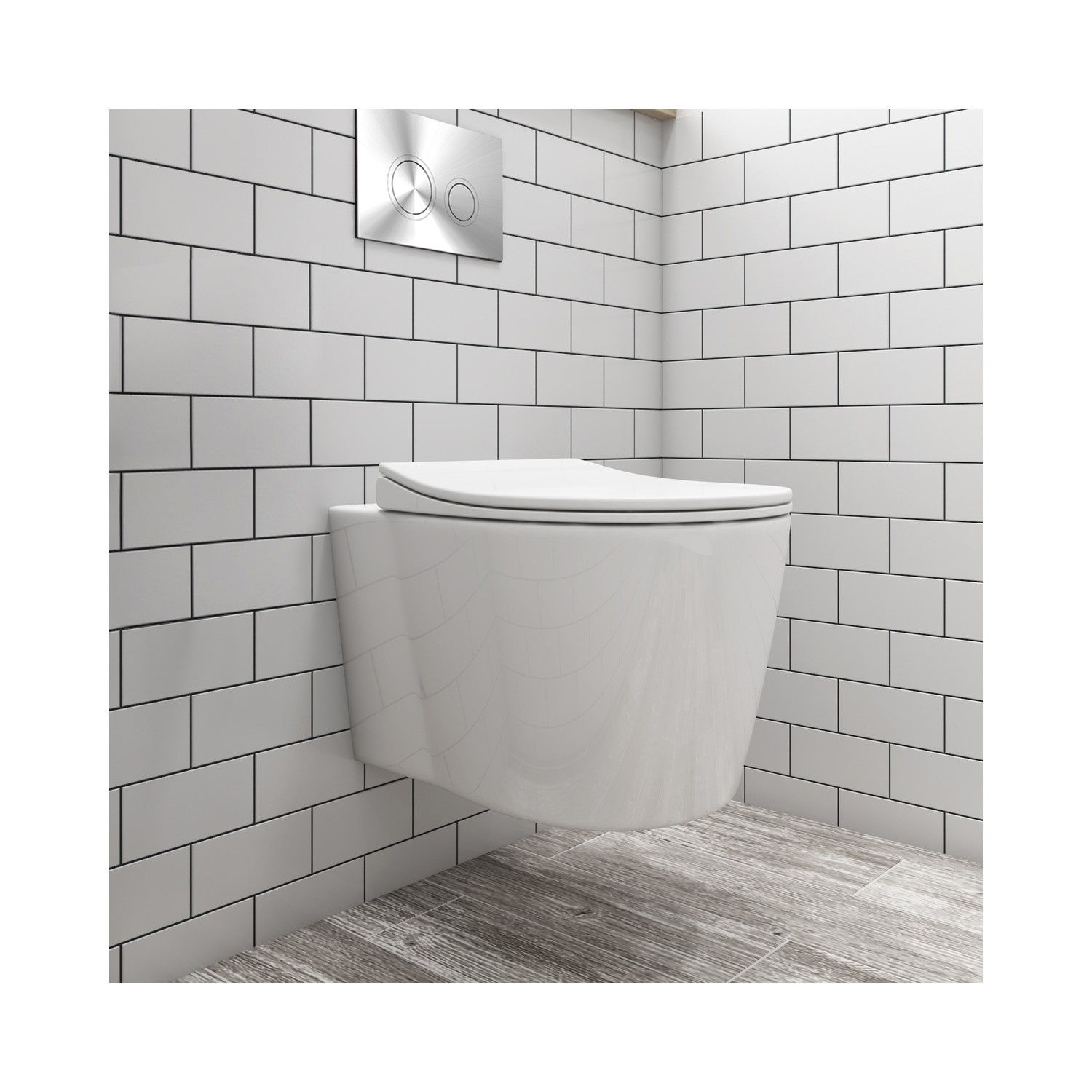 Bath & WC Wall Hung Toilet and Soft Close Seatwith Chrome Flush Plate 1160mm Frame and Cistern - Alcor