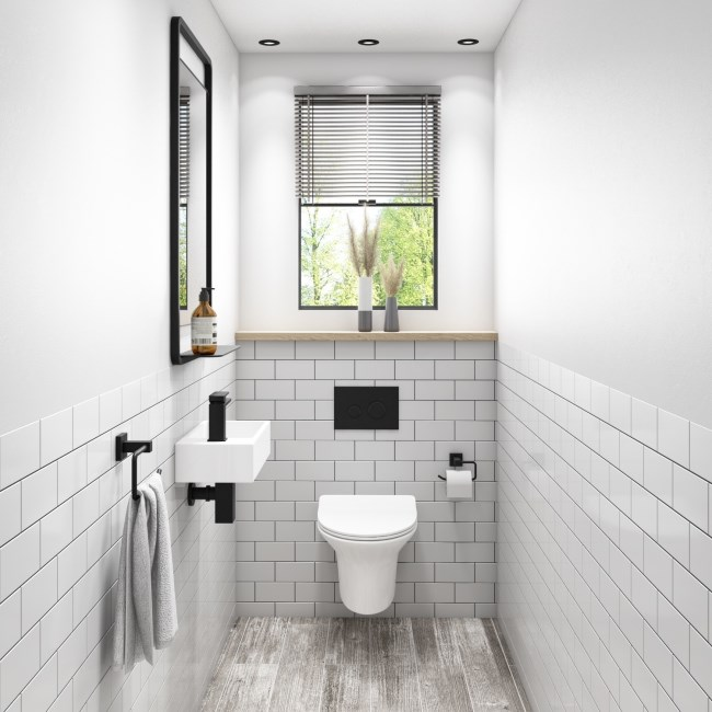Valencia Rimless Wall Hung Toilet and Soft Close Slim Seat with Detroit Wall Hung Basin Cloakroom Suite - LH