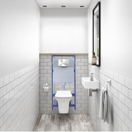 Santiago Rimless Wall Hung Toilet and Soft Close Seat with Zana Chrome Mechanical Flush Plate with 1160mm Frame and Cistern