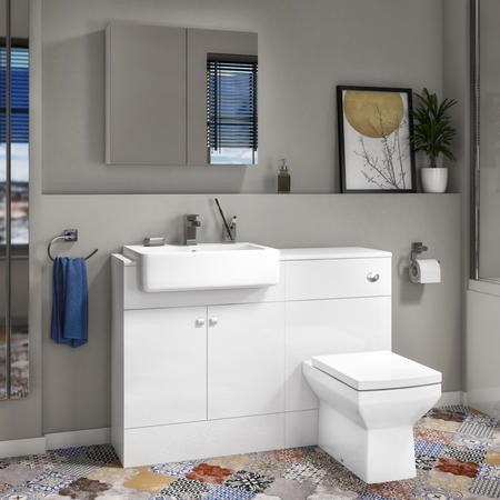 Harper Toilet and Basin Combination Unit 1167mm with Square Back To Wall Toilet - White Gloss