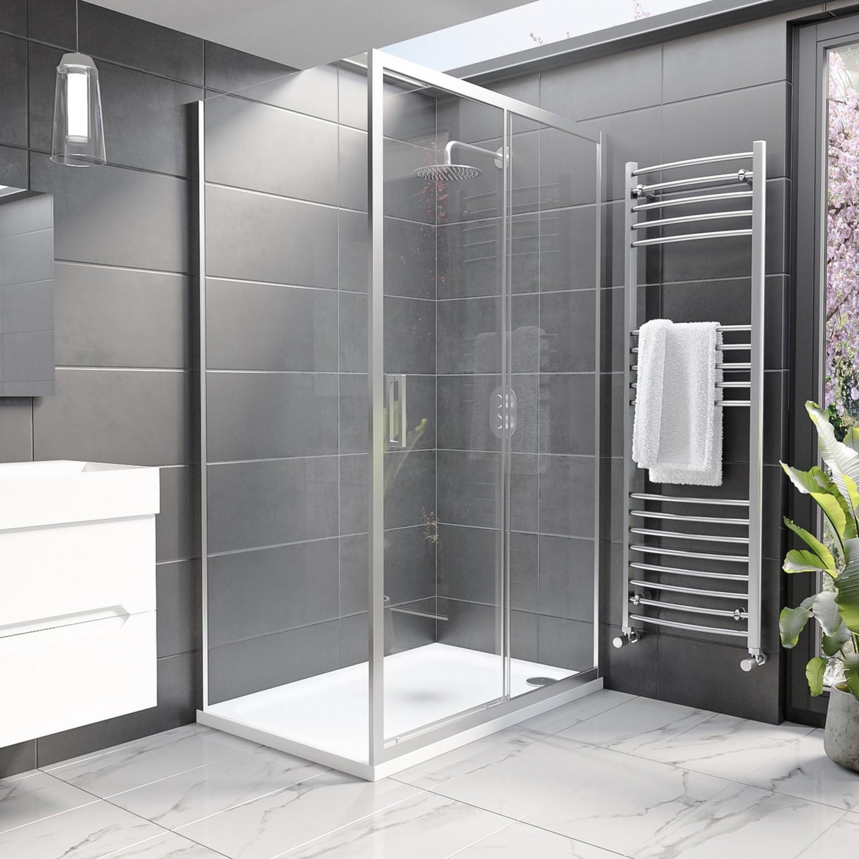 Showers Sliding Door Enclosure 1200 x 760mm 8mm Glass - Pavo Range