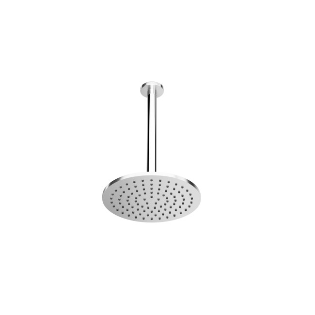 Chrome Round 250mm Shower Head With Ceiling Arm