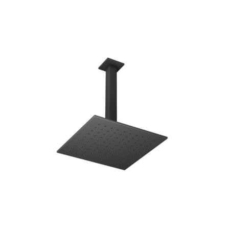 Matt Black Square 250mm Shower Head With Ceiling Arm