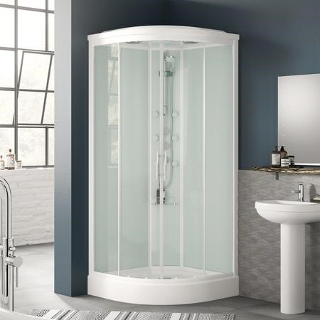 Quadrant Shower Cabin with 6 Body Jets & Hydromassage 900 x 900mm - Aqualine Range