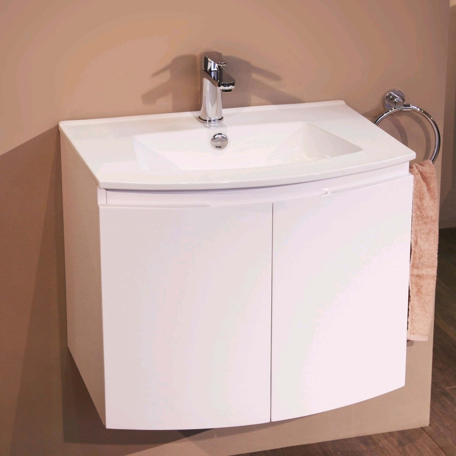 620mm Wall Hung Basin Vanity Unit  White Double Door  Voss Range