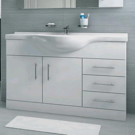 1050mm Vanity Unit with Basin Drawers & Doors White - Windsor