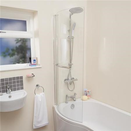 P-Shaped Hinged Bath Shower Screen H1435 x W725mm with Towel Rail