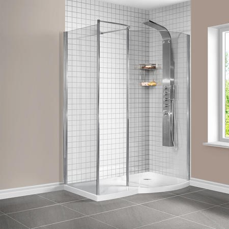1400 x 900mm Curved Right Hand Walk-In Shower Enclosure with Shower Tray