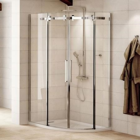 Offset Sliding Door Quadrant Enclosure 900mm -  8mm Glass - Aquafloe Iris Range