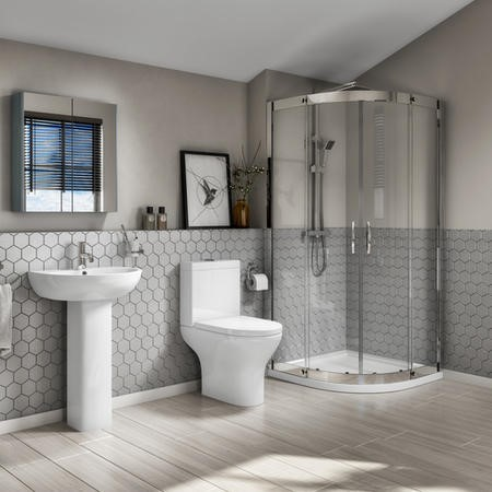 Quadrant Shower Bathroom Suite with Toilet Basin and Tray - Portland