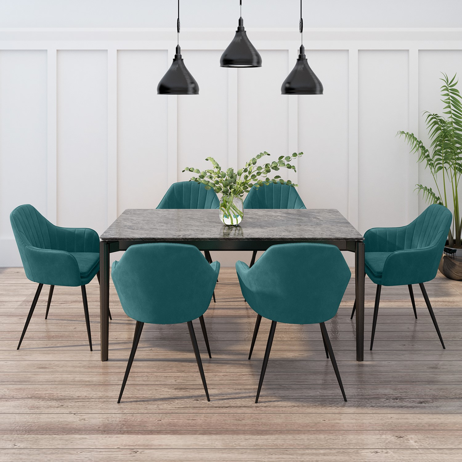 6 Teal Velvet Dining Chairs, Dining Room Chairs Set Of 6