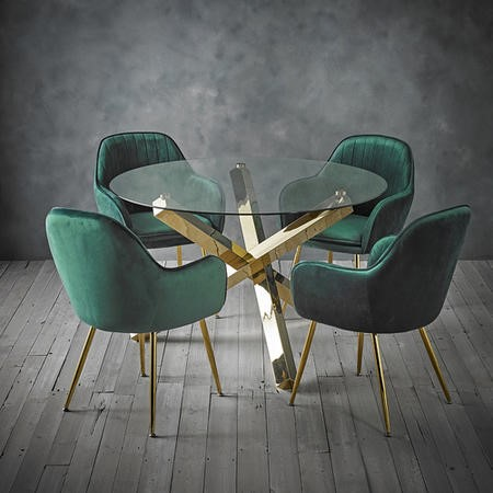 Capri Glass Top Dining Table + 4 Green Velvet Dining Chairs with Gold Legs