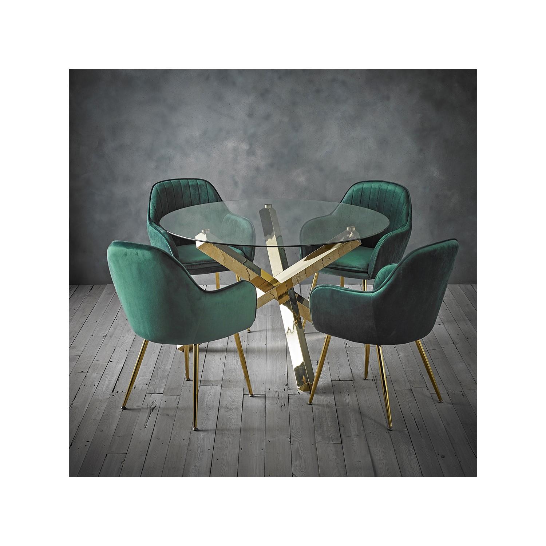 Capri Glass Top Dining Table + 4 Green Velvet Dining Chairs