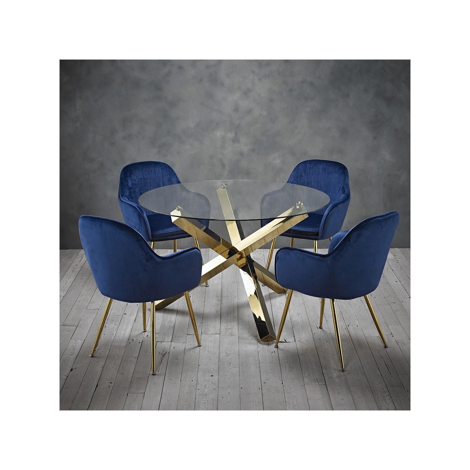 Capri Glass Top Dining Table 4 Blue Velvet Dining Chairs With Gold Legs Furniture123