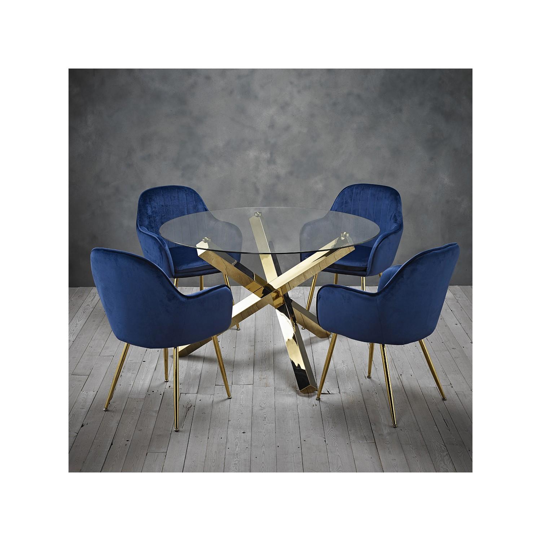 Capri Glass Top Dining Table + 4 Blue Velvet Dining Chairs w