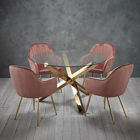 Capri Glass Top Dining Table + 4 Pink Velvet Dining Chairs with Gold Legs