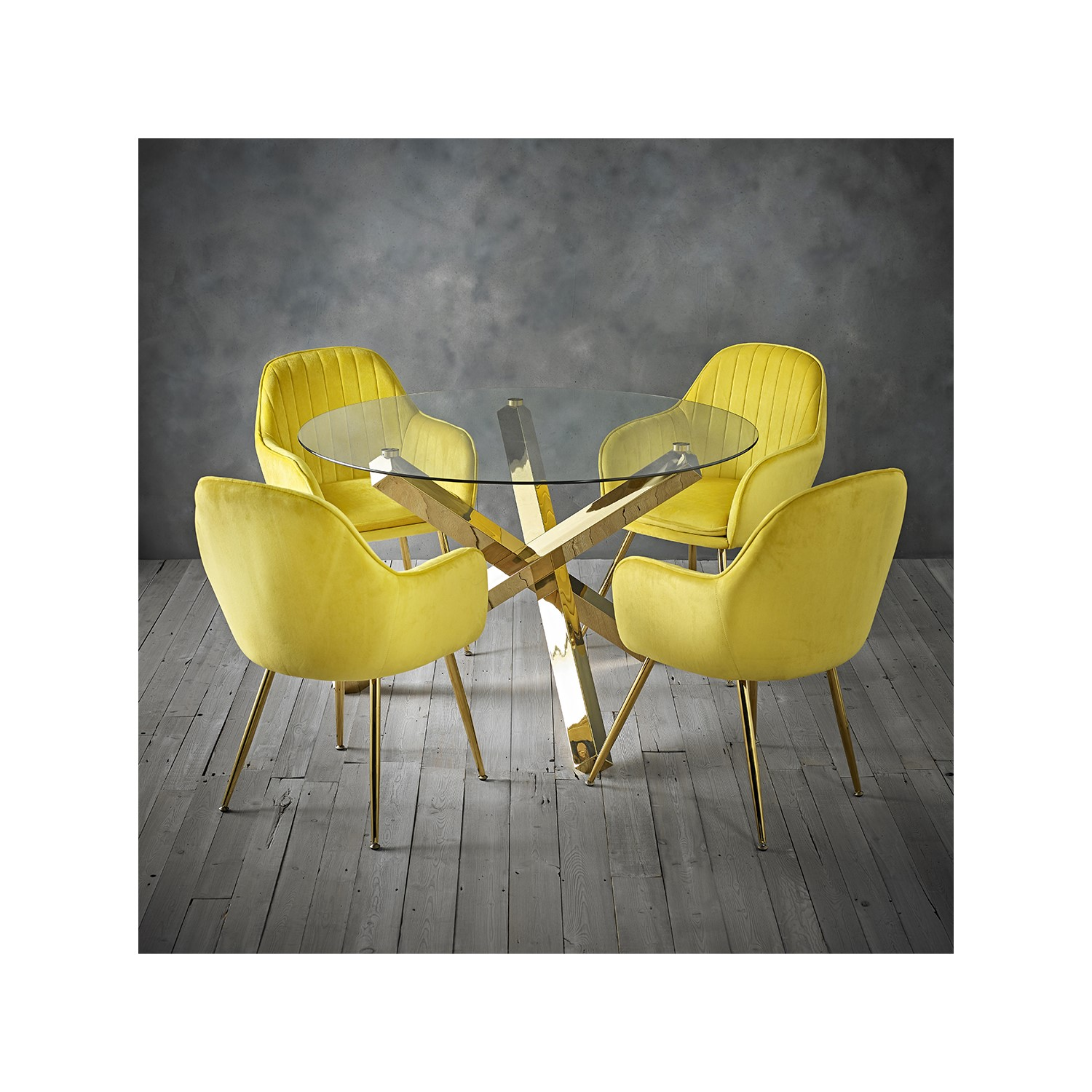 Capri Glass Top Dining Table + 4 Yellow Velvet Dining Chairs