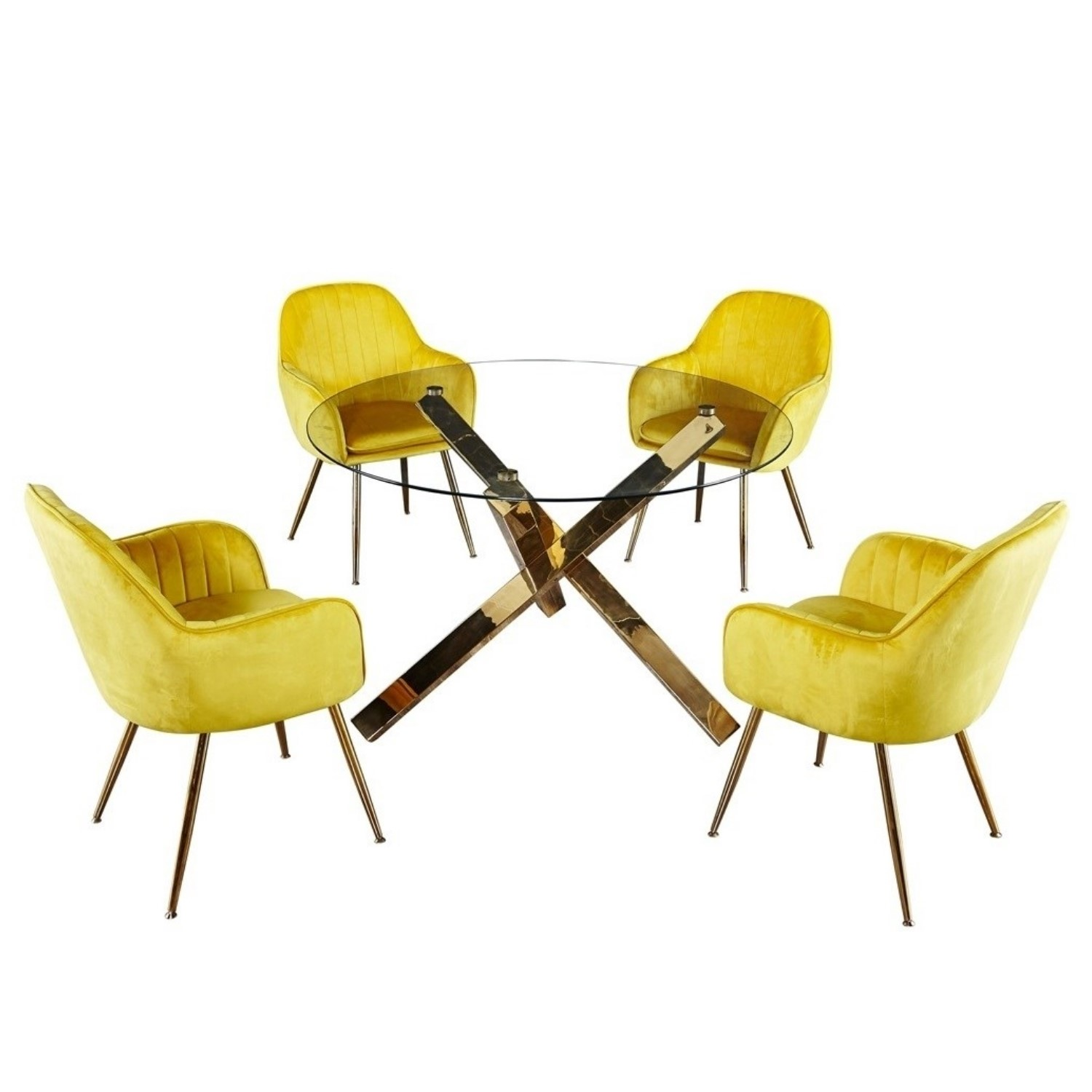 Picture of: Capri Glass Top Dining Table 4 Yellow Velvet Dining Chairs With Gold Legs Furniture123