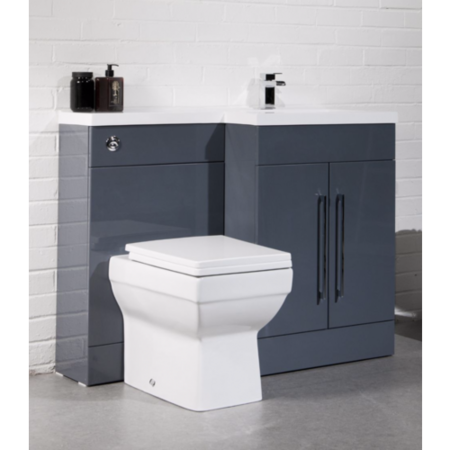 Anthracite Cloakroom Right Hand Suite with Thin Edge Basin - W1090mm
